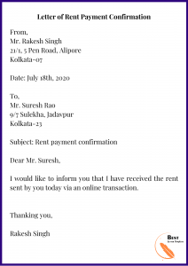 Letter of Rent Payment Confirmation