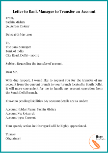 Letter to Bank Manager to Transfer an Account
