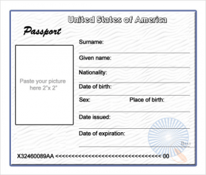 Printable Blank Passport Template
