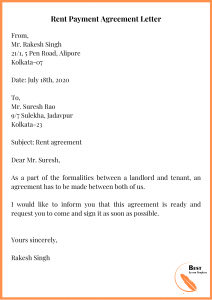 Rent Payment Agreement Letter