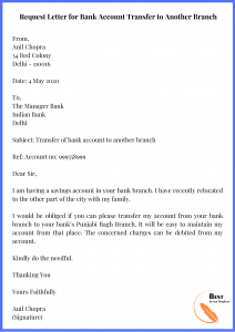 Request Letter for Bank Account Transfer to Another Branch