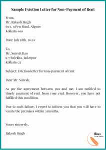 Sample Eviction Letter for Non-Payment of Rent