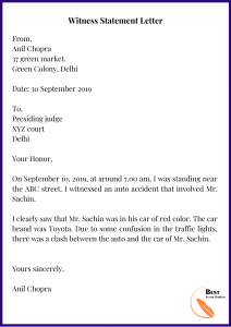 Witness Statement Letter