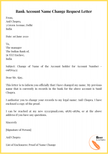Bank Account Name Change Request Letter