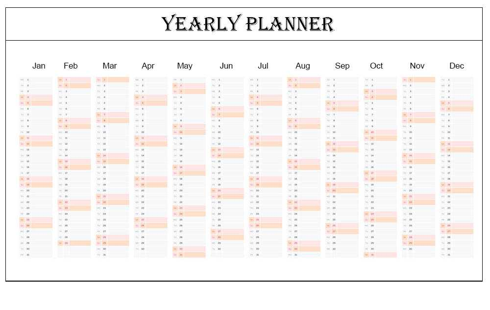 Blank Office works Yearly Planner