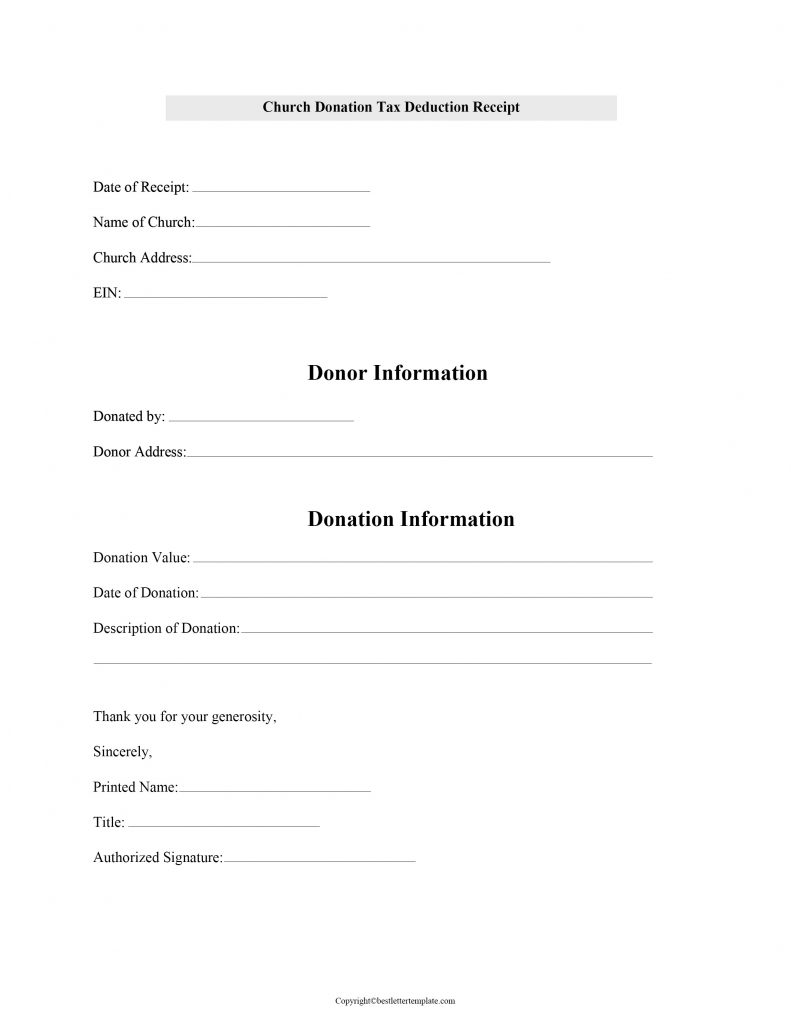 Free Blank Printable Tax Receipt Template With Example In Pdf