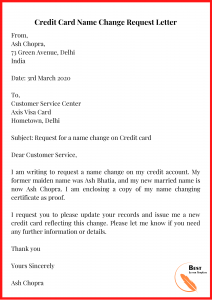 Credit Card Name Change Request Letter