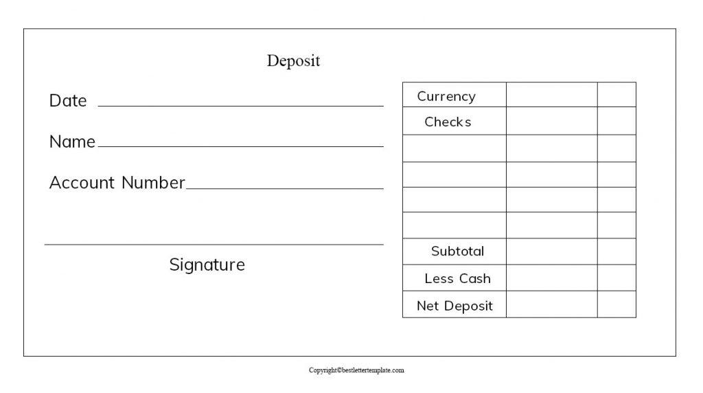 Cash Deposit Receipt Template