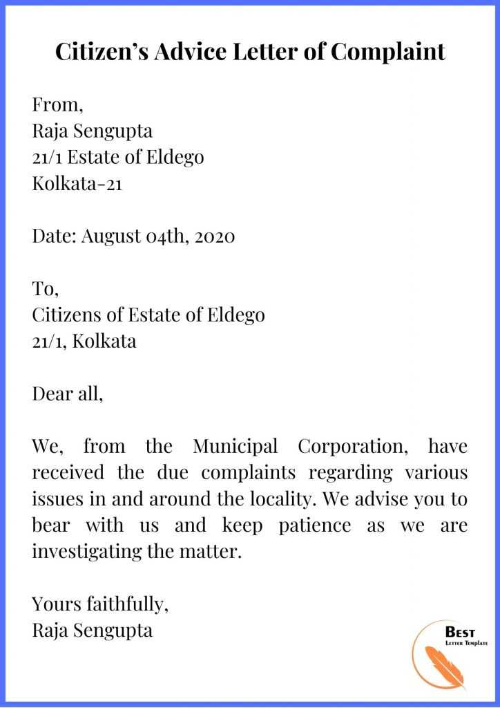 Citizen's Advice Letter of Complaint
