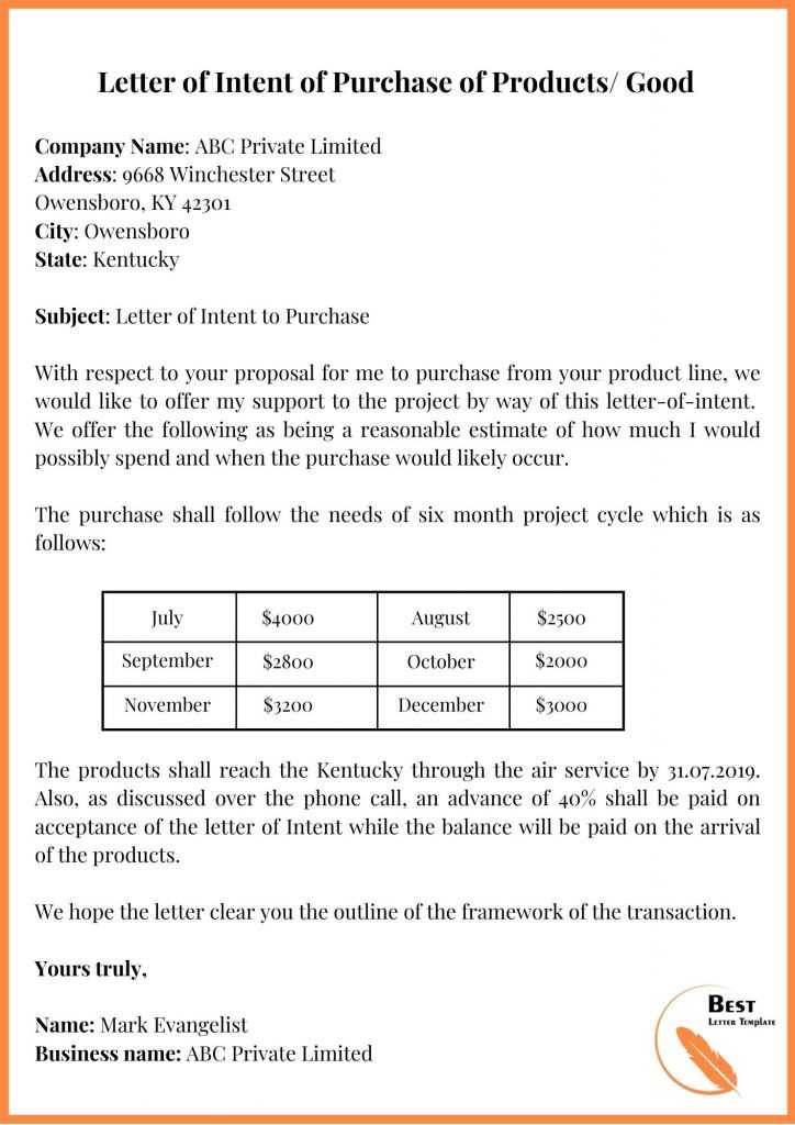 Letter of Intent of Purchase of Products
