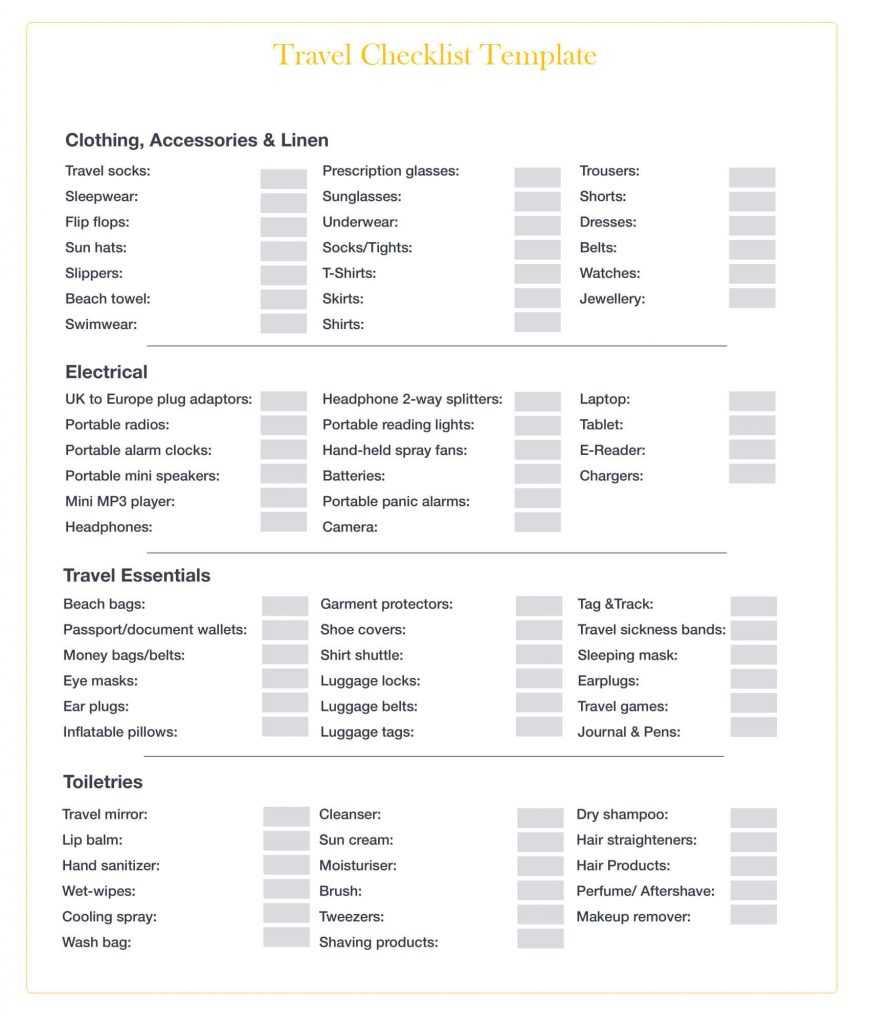 Blank Travel Checklist