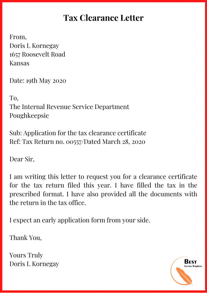 Tax Clearance Letter