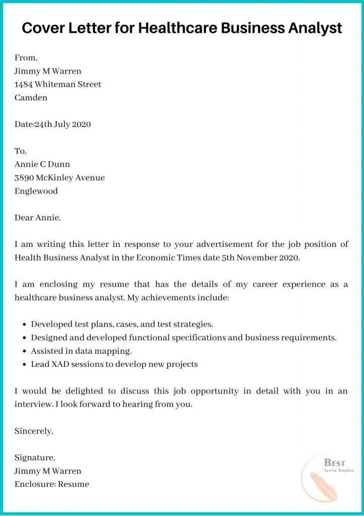 Cover Letter for Healthcare Business Analyst