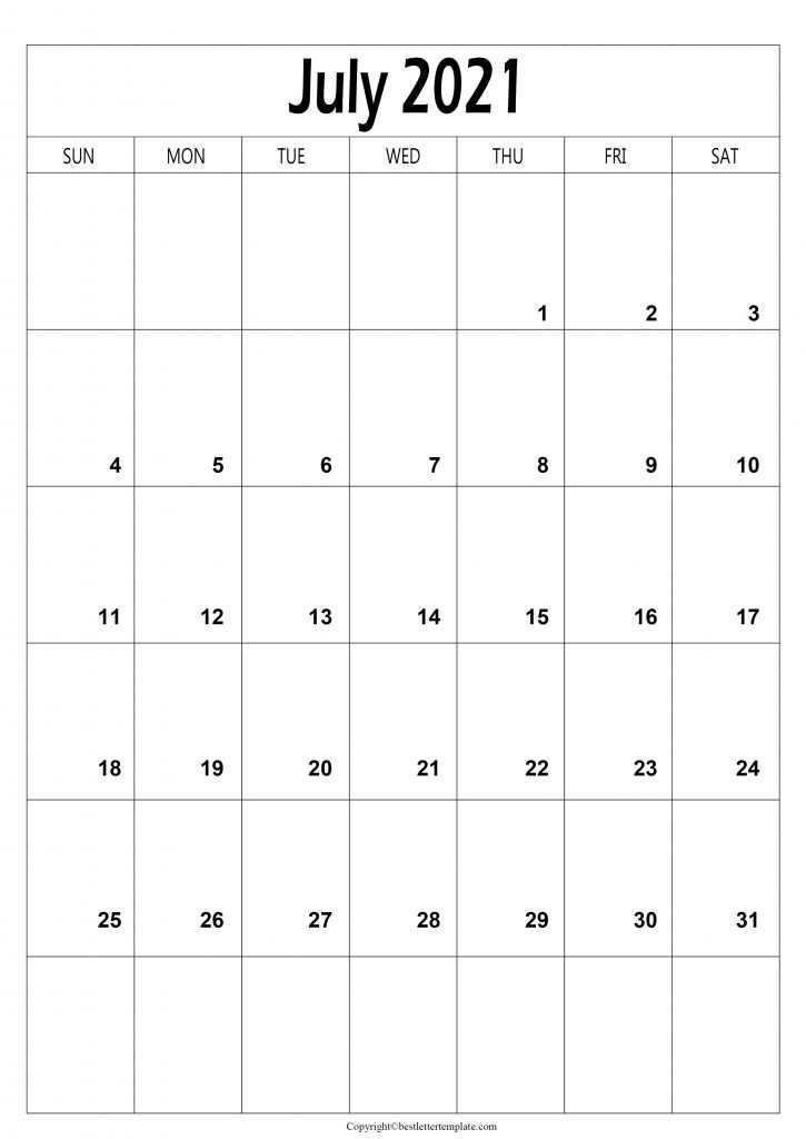 July Calendar 2021 A4