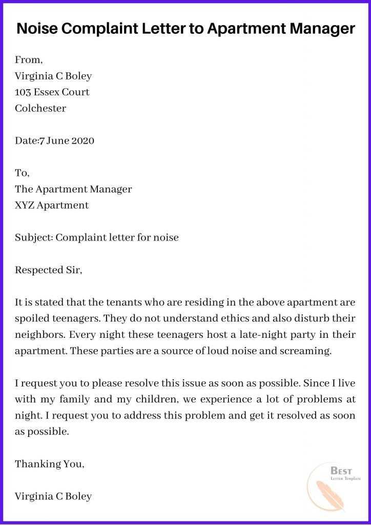 Noise Complaint Letter