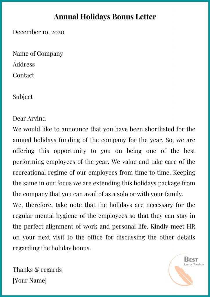 Annual Holidays Bonus Letter
