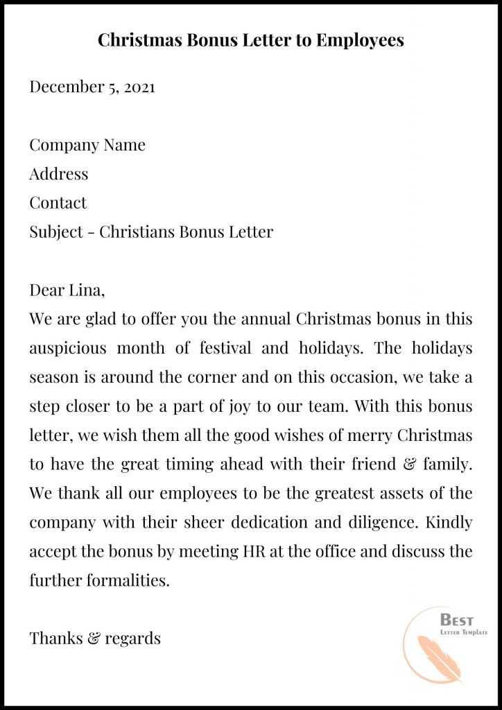 Christmas Bonus Letter to Employees
